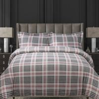 Tribeca Living Plaid 200 GSM Printed Flannel King Duvet Cover Set in Red