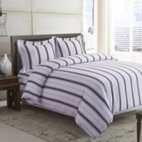 Tribeca Living Stripe 170 GSM Printed Flannel Queen Duvet Cover Set in Black/Grey
