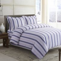 Tribeca Living Stripe 170 GSM Printed Flannel Queen Duvet Cover Set in Blue