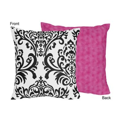 sweet jojo designs isabella square decorative pillow in pinkblackwhite - Pink Decorative Pillows