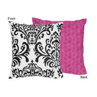 Sweet Jojo Designs Isabella Square Decorative Pillow in Pink/Black/White
