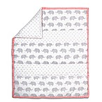 The Peanut Shell Elephant Stripe Quilt in Coral/Grey