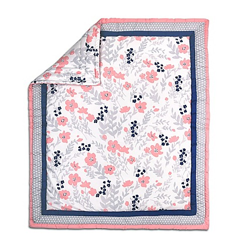 The Peanut Shell 174 Floral And Dot Quilt In Coral Grey