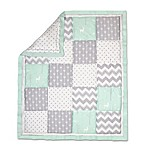 The Peanut Shell® Woodland Patchwork Quilt in Mint/Grey