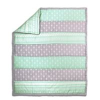 The Peanut Shell Arrow Stripe Quilt in Mint/Grey