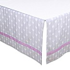 The Peanut Shell® Arrow Crib Skirt in Purple/Grey