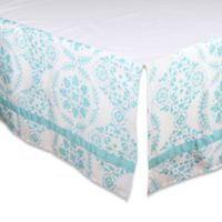 The Peanut Shell Medallion Crib Skirt In Teal