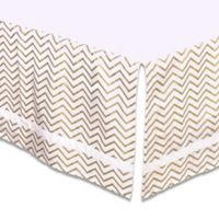 The Peanut Shell® Chevron Crib Skirt in Gold