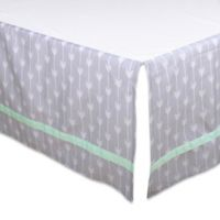The Peanut Shell® Arrow Crib Skirt in Grey/Mint