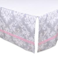 The Peanut Shell® Damask Crib Skirt in Pink/Grey