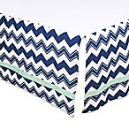 The Peanut Shell® Chevron Crib Skirt in Navy/Mint