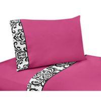 Sweet Jojo Designs Isabella Queen Sheet Set in Hot Pink/Black/White