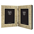 Elsa L 2-Photo 5-Inch x 7-Inch Textured  Frame in Champagne