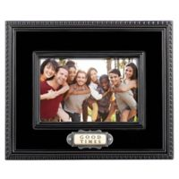 "Grasslands Road™ 4-Inch x 6-Inch Ceramic ""Good Times"" Ceramic Picture Frame in Black"
