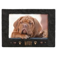 "Grasslands Road® 4-Inch x 6-Inch ""Woof"" Cement Picture Frame in Black"
