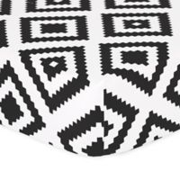 The Peanut Shell® Tile Fitted Crib Sheet in Black/White