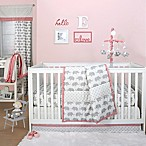The Peanut Shell® Elephant 4-Piece Crib Bedding Set in Coral/Grey