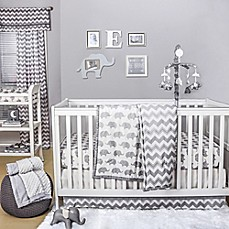 The Peanut Shell 174 Elephant Crib Bedding Collection In Grey