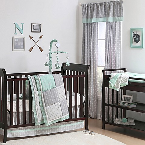The Peanut Shell 174 Woodland Crib Bedding Collection In Grey