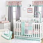 The Peanut Shell® Mini-Dots Patchwork 4-Piece Crib Set in Coral/Mint