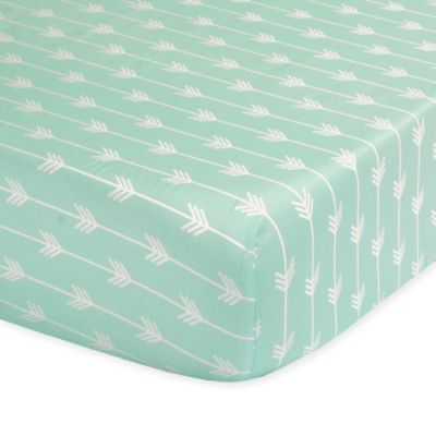 the peanut shell arrow fitted crib sheet in mint