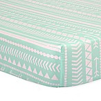 The Peanut Shell® Tribal Fitted Crib Sheet in Mint