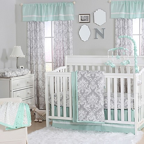 The Peanut Shell 174 Damask Crib Bedding Collection In Mint