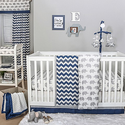 The Peanut Shell 174 Chevron Crib Bedding Collection In Navy