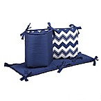 The Peanut Shell® Chevron Crib Bumper in Navy