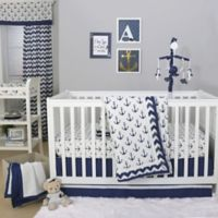 The Peanut Shell Anchor 4 Piece Crib Bedding Set In White Navy