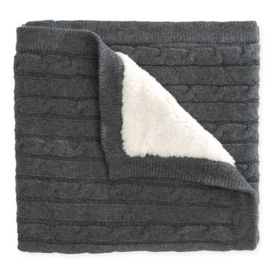 elegant baby cable knit blanket with faux fur backing in charcoal - Cable Knit Throw