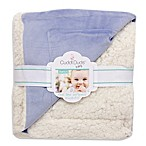 Cuddl Duds® Baby Exclusive Plushfill® Ivory/Blue Reversible Sherpa Velour Blanket