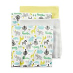 carter's® Safari Print 4-Pack Blankets in Yellow Solid Grey Stripe