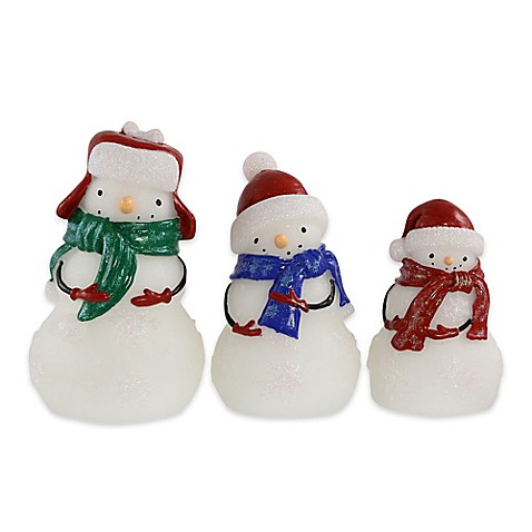 Loft Living 3 Piece Led Wax Snowman Bed Bath Amp Beyond