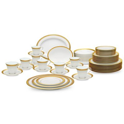 Noritake® Crestwood Gold 50-Piece Dinnerware Set  sc 1 st  Bed Bath \u0026 Beyond & Buy Gold Dinnerware Sets from Bed Bath \u0026 Beyond