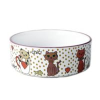 Chic Kitty 2-Cup Bowl in White Multi Shimmer