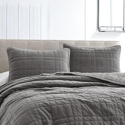 Buy Kenneth Cole Velvet King Coverlet In Grey From Bed