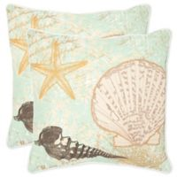 Safavieh Eve Square Throw Pillows in Seafoam/Green (Set of 2)