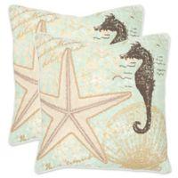 Safavieh Lauren 22-Inch x 22-Inch Throw Pillows in Seafoam/Green (Set of 2)