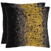 Safavieh Dubios Throw Pillows in Yellow/Onyx (Set of 2)