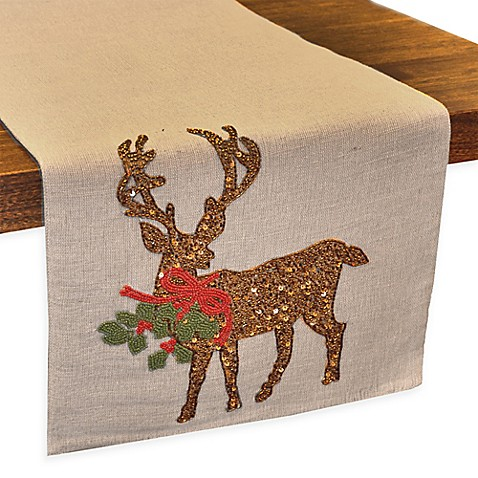 Reindeer Burlap Beaded Table Runner Bed Bath Amp Beyond