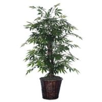 4-Foot Fabric Japanese Maple Bush with Dark Brown Rattan Basket