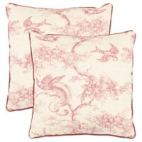 Safavieh Katie Square Throw Pillows in Raspberry (Set of 2)