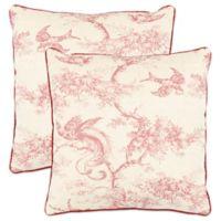 Safavieh Katie Square Throw Pillows in Raspberry (Set of 2)