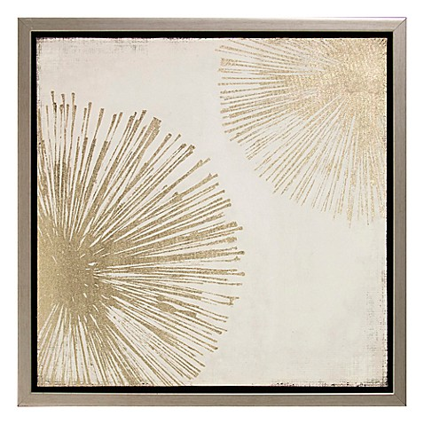 Metallic sunburst canvas wall art bed bath beyond for Sunburst wall art