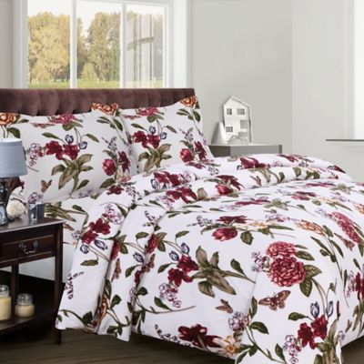 Tribeca Living Blossoms 200 GSM Printed Flannel King Duvet Cover Set in Red/Green