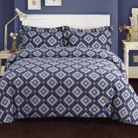 Tribeca Living King Damask Flannel 3-Piece Duvet Cover Set in Blue