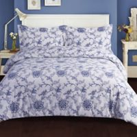 Tribeca Living Floral 200 GSM Printed Flannel King Duvet Cover Set in Blue