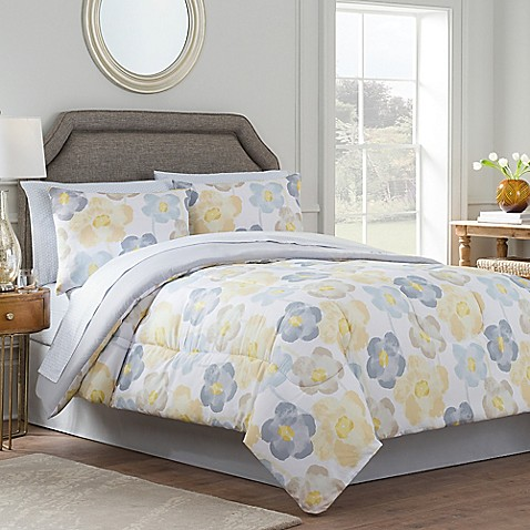 antonia reversible comforter set in yellow grey bed bath beyond. Black Bedroom Furniture Sets. Home Design Ideas