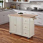 Home Styles Liberty Kitchen Cart in White with Wooden Top